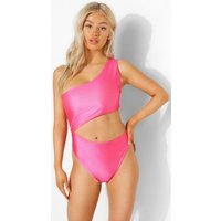 Womens Petite Cut Out One Shoulder Swimsuit - Pink - 6, Pink