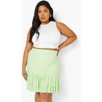 Womens Plus Broderie Ruffle Mini Skirt - Green - 16, Green