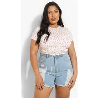 Womens Plus Ditsy Floral Short Sleeve Crop Top - White - 18, White