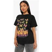 Womens Petite Butterfly Limited Slogan T-Shirt - Black - L, Black