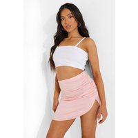 Womens Petite Ruched Side Mini Skirt - Pink - 16, Pink