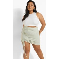 Womens Plus Rib Side Ruched Mini Skirt - Green - 24, Green