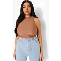 Womens Plus Smoothing Fitted Racer Crop Top - Brown - 22, Brown
