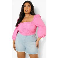 Womens Plus Cotton Ruched Front Square Neck Crop Top - Pink - 22, Pink