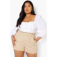 Womens Plus Linen Papaerbag Flippy Short - Beige - 18, Beige