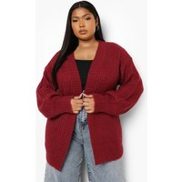 Womens Plus Chunky Soft Knit Edge To Edge Cardigan - Red - 16, Red