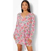 Womens Petite Long Sleeve Floral Wrap Dress - Multi - 10, Multi
