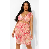 Womens Plus Wave Print Beach Co-Ord - Pink - 26, Pink