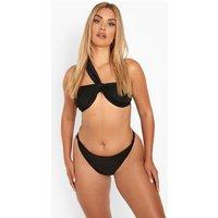 Womens Plus One Shoulder Twist Bikini - Black - 22, Black