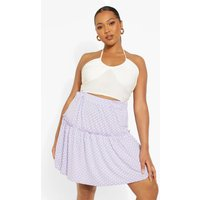 Womens Plus Polka Dot Mini Skater Skirt - Purple - 20, Purple