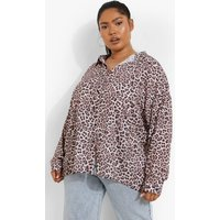 Womens Plus Leopard Print Shirt - Brown - 22, Brown