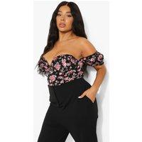 Womens Plus Floral Ruffle Corset Detail Top - Black - 18, Black