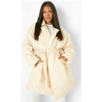 Womens Plus Quilted Collar Belted Puffer - Beige - 28, Beige