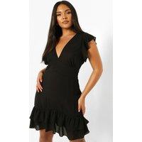 Womens Plus Frill Hem Swing Dress - Black - 16, Black