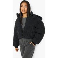 Womens Petite Hooded Oversized Crop Puffer - Black - 10, Black