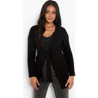 Womens Petite Belted Rib Cardigan - Black - Xl, Black
