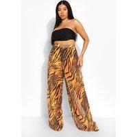 Womens Plus Tiger Print Beach Trousers - Orange - 28, Orange