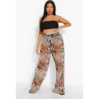 Womens Plus Animal Print Beach Trousers - Brown - 24, Brown