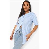 Womens Plus Short Sleeve Rib Knit Collared Cardigan - Blue - 28, Blue