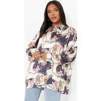Womens Plus Satin Chain Print Oversize Shirt - Navy - 22, Navy