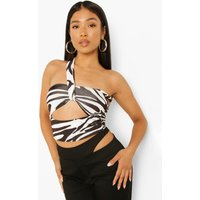 Womens Petite Abstract Print Cut Out Halter Crop Top - Black - 14, Black