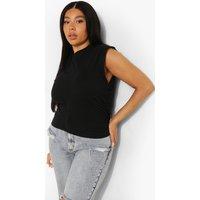 Womens Plus Ruched Side Sleeveless T-Shirt - Black - 18, Black