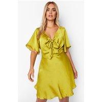 Womens Plus Satin Tie Front Skater Dress - Yellow - 28, Yellow
