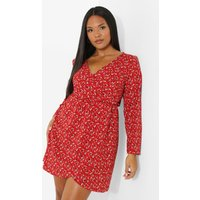Womens Plus Floral Printed Wrap Dress - Red - 16, Red