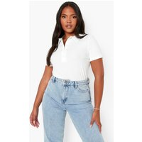 Womens Plus Rib Knitted Collar Top - White - 28, White