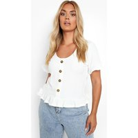 Womens Plus Knitted Rib Horn Button Ruffle Top - White - 18, White