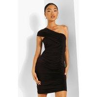 Womens Petite Slinky Asymmetric Strap Midi Dress - Black - 4, Black
