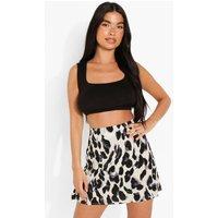 Womens Petite Leopard Print Mini Skirt - White - 4, White
