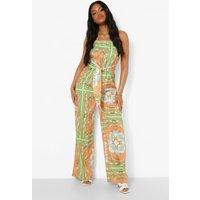 Womens Petite Chain Print Tie Waist Jumpsuit - Orange - 8, Orange