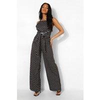 Womens Petite Spot Print Tie Waist Jumpsuit - Black - 4, Black