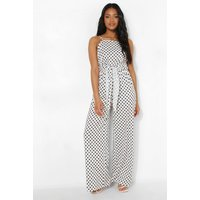 Womens Petite Spot Print Tie Waist Jumpsuit - White - 10, White