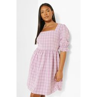Womens Plus Gingham Puff Sleeve Smock Dress - Purple - 24, Purple