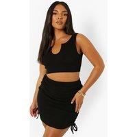 Womens Plus Rib Ruched Mini Skirt - Black - 22, Black