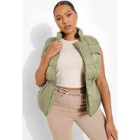 Womens Plus Sleeveless Padded Gilet - Green - Xl, Green
