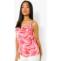 Womens Petite Marble Print Cowl Neck Cami Top - Pink - 8, Pink