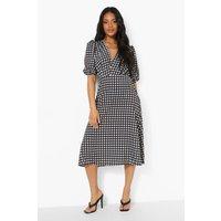 Womens Petite Gingham Woven Midaxi Dress - Black - 6, Black
