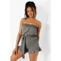 Womens Petite Ruffle Tie Waist Linen Look Playsuit - Black - 8, Black