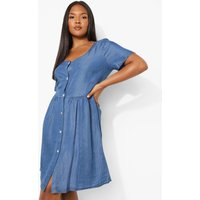 Womens Plus Capped Sleeve Chambray Dress - Blue - 22, Blue