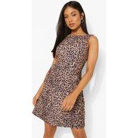Womens Petite Leopard Mock Horn Button Shift Dress - Beige - 10, Beige