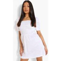 Womens Petite Cotton Puff Sleeve Skater Dress - White - 8, White