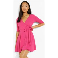 Womens Petite Wrap Skater Dress - Pink - 4, Pink