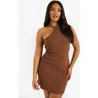 Womens Plus Rib Asymmetric Mini Dress - Brown - 18, Brown