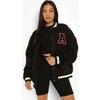 Womens Petite Patch Letter Oversized Varsity Jacket - Black