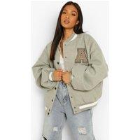 Womens Petite Patch Letter Oversized Varsity Jacket - Grey -