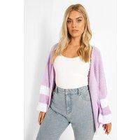Womens Plus Knitted Stripe Cardigan - Purple - 24, Purple