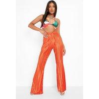 Womens Petite V Waistband Plisse Trouser - Orange - 14, Orange